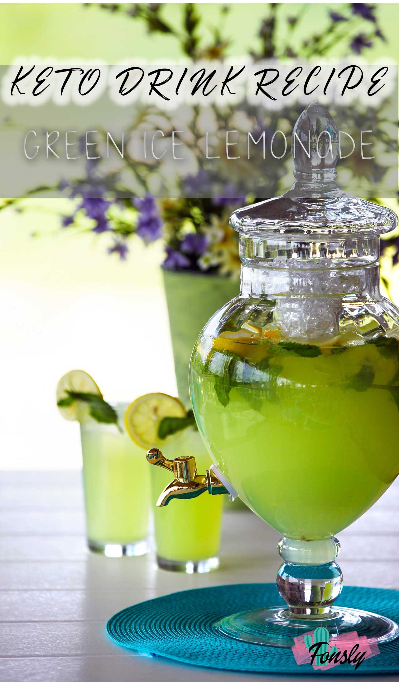 keto lemonade recipe, green drink recipe, keto drink