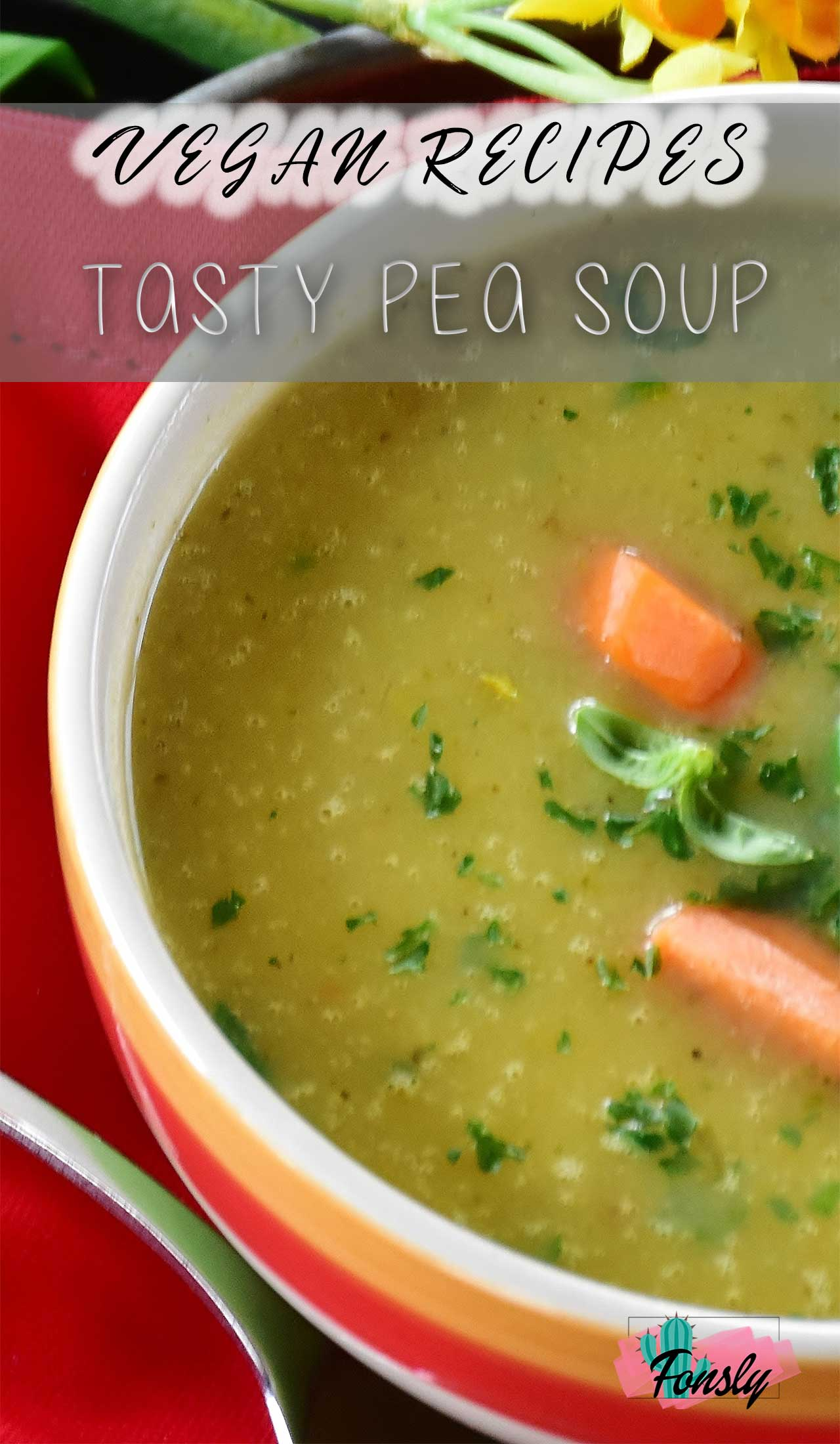 vegan recipes, vegan soup, vegan pea soup